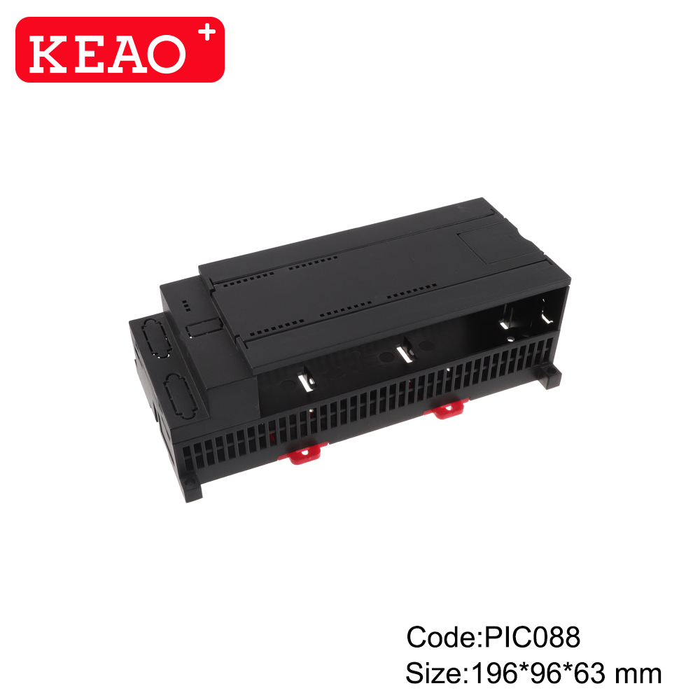 Hot selling plastic din rail plc enclosure shell with terminal blocks PIC088 with size 196*96*63mm